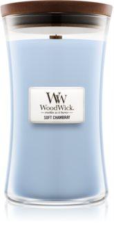 Woodwick Soft Chambray candela profumata 609,5 g con stoppino in legno