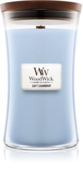 Woodwick Soft Chambray candela profumata 609,5 g grande