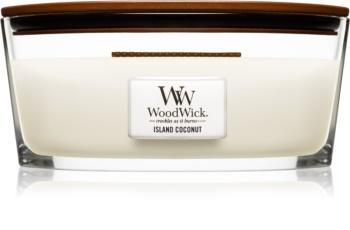 Woodwick Island Coconut ароматна свещ  453,6 гр. с дървен фитил (Hearthwick)