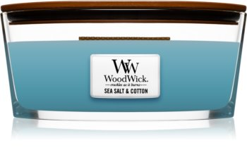 Woodwick Sea Salt & Cotton vonná sviečka 453,6 g s dreveným knotom (Hearthwick)