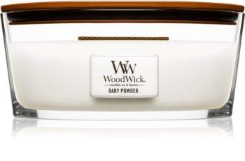 Woodwick Baby Powder geurkaars met een houten lont (hearthwick) 453,6 gr