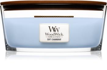 Woodwick Soft Chambray vonná sviečka s dreveným knotom (hearthwick)