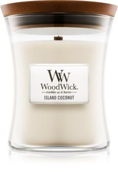 Woodwick Island Coconut dišeča sveča  275 g z lesenim stenjem