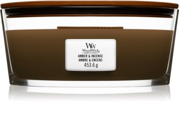 Woodwick Amber & Incense vela perfumada  453,6 g con mecha de madera (Hearthwick)