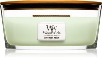 Woodwick Cucumber Melon bougie parfumée 453,6 g avec mèche en bois (Hearthwick)