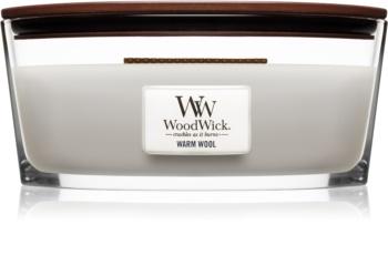 Woodwick Warm Wool dišeča sveča  z lesenim stenjem (hearthwick)
