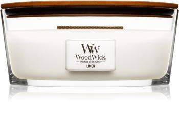 Woodwick Linen vonná sviečka 453,6 g s dreveným knotom (Hearthwick)
