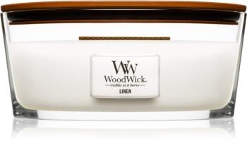 Woodwick Linen vonná sviečka s dreveným knotom (hearthwick)