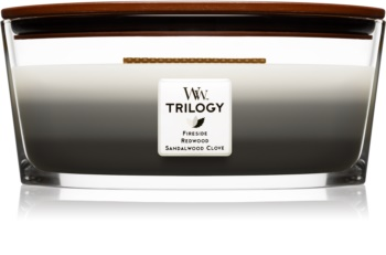 Woodwick Trilogy Warm Woods bougie parfumée 453,6 g avec mèche en bois (Hearthwick)