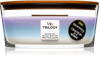 Woodwick Trilogy Calming Retreat vonná svíčka 453,6 g s dřevěným knotem (Hearthwick)