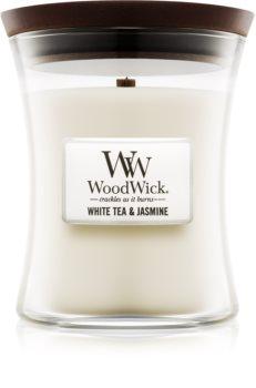 Woodwick White Tea & Jasmin ароматизована свічка  275 гр середня
