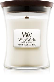 Woodwick White Tea & Jasmin vonná svíčka 275 g s dřevěným knotem