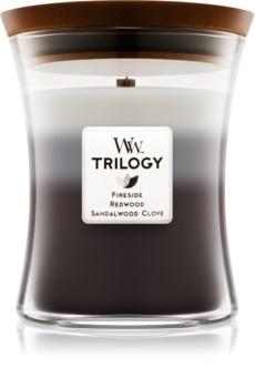 Woodwick Trilogy Warm Woods lumânare parfumată  275 g cu fitil din lemn