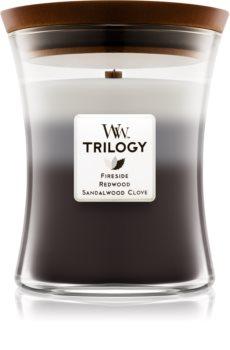 Woodwick Trilogy Warm Woods vonná svíčka 275 g s dřevěným knotem