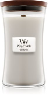 Woodwick Warm Wool lumânare parfumată  609,5 g cu fitil din lemn