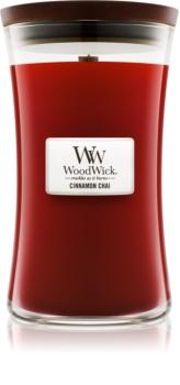 Woodwick Cinnamon Chai lumânare parfumată  cu fitil din lemn 609,5 g