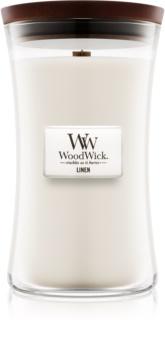 Woodwick Linen illatos gyertya  609,5 g fa kanóccal