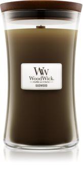 Woodwick Oudwood illatos gyertya  609,5 g fa kanóccal