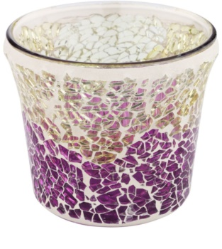 Yankee Candle Purple & Gold Crackle Glass Votive Candle Holder