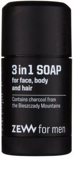 Zew For Men jabón natural en barra para rostro, cuerpo y cabello 3 en 1