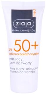 Ziaja Med Protecting UVA + UVB zmatňujúci opaľovací krém na tvár SPF 50+
