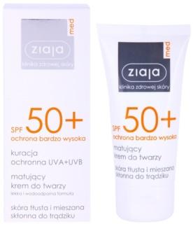 Ziaja Med Protecting UVA + UVB сонцезахисний матуючий крем для обличчя SPF50+