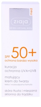 Ziaja Med Protecting UVA + UVB сонцезахисний матуючий крем для обличчя SPF 50+