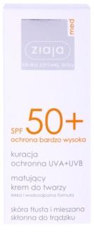Ziaja Med Protecting UVA + UVB matirajoča krema za sončenje za obraz SPF 50+