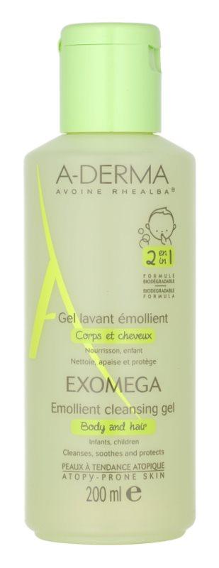 A-Derma Exomega gel emoliente de limpeza para corpo e cabelo para crianças