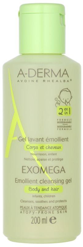 A-Derma Exomega Verzachtende Wasgel voor Lichaam en Haar  voor Kinderen