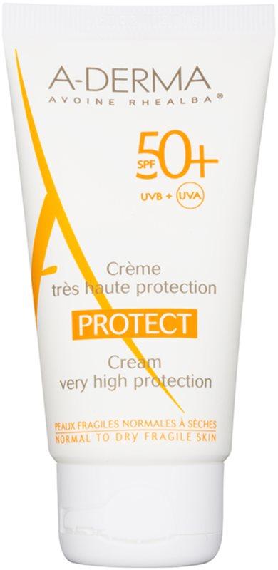 A-Derma Protect προστατευτική κρέμα για κανονική και ξηρή επιδερμίδα SPF 50+