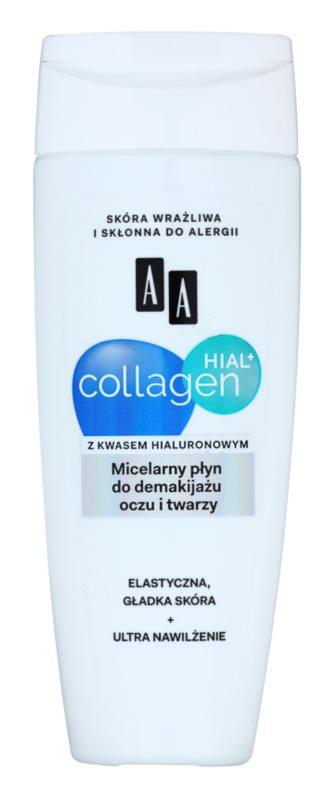 AA Cosmetics Collagen HIAL+ мицеларна почистваща вода за лице и очи