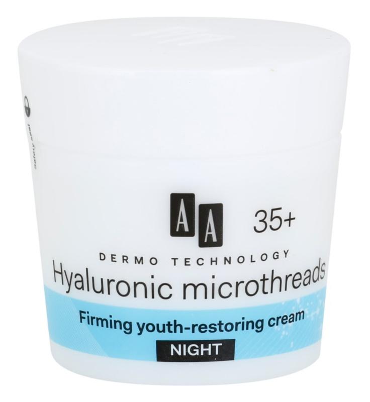 AA Cosmetics Dermo Technology Hyaluronic Microthreads  omlazující a vyhlazující noční krém 35+
