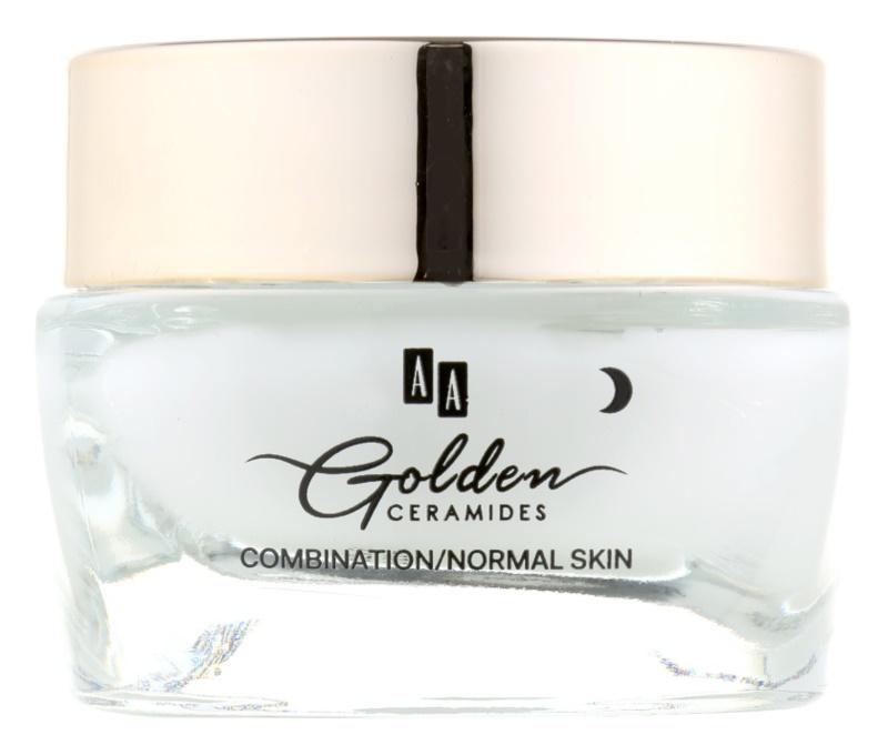 AA Cosmetics Golden Ceramides cremă de noapte cu efect de netezire intensă