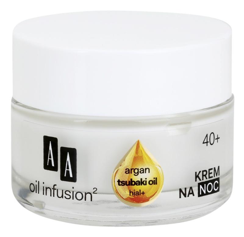 AA Cosmetics Oil Infusion2 Argan Tsubaki 40+ crème de nuit régénérante effet anti-rides