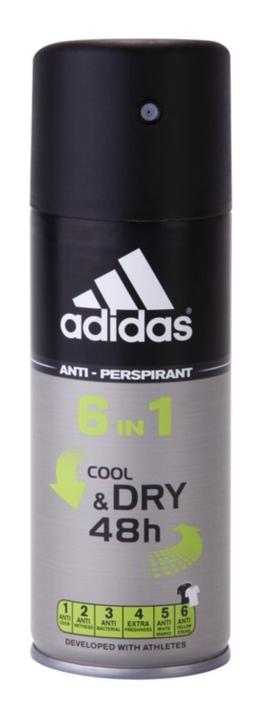 Adidas 6 in 1 Cool & Dry déo-spray pour homme 150 ml