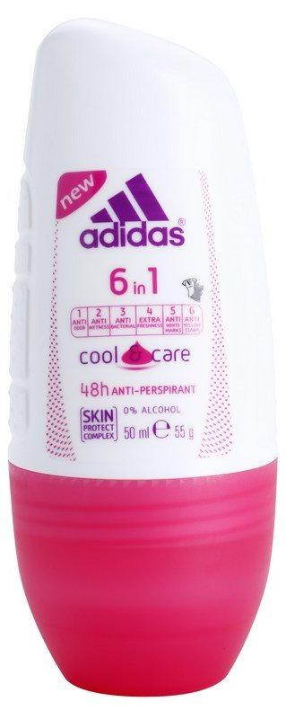 Adidas 6 in 1  Cool & Care дезодорант кульковий для жінок 50 мл