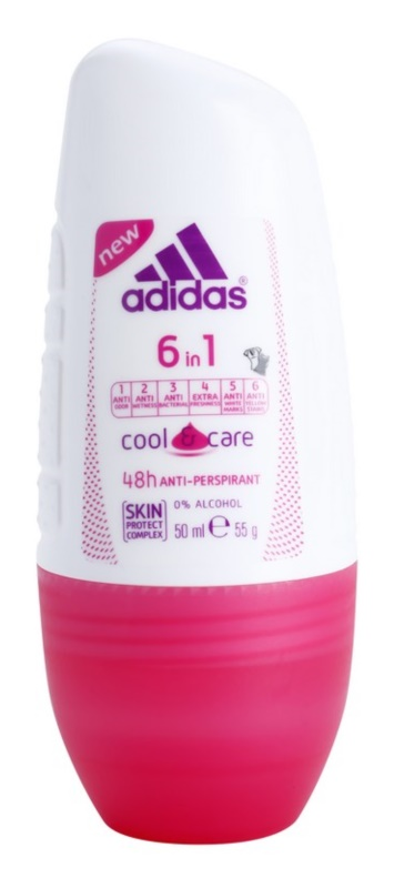 Adidas 6 in 1  Cool & Care deodorant roll-on pro ženy 50 ml