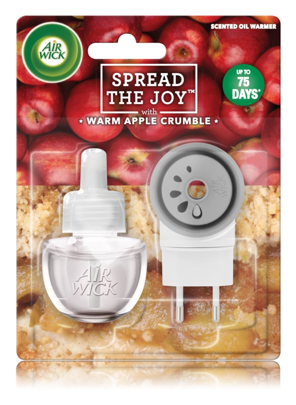 Air Wick Spread the Joy Warm Apple Crumble elektrický osvěžovač vzduchu 19 ml s náplní