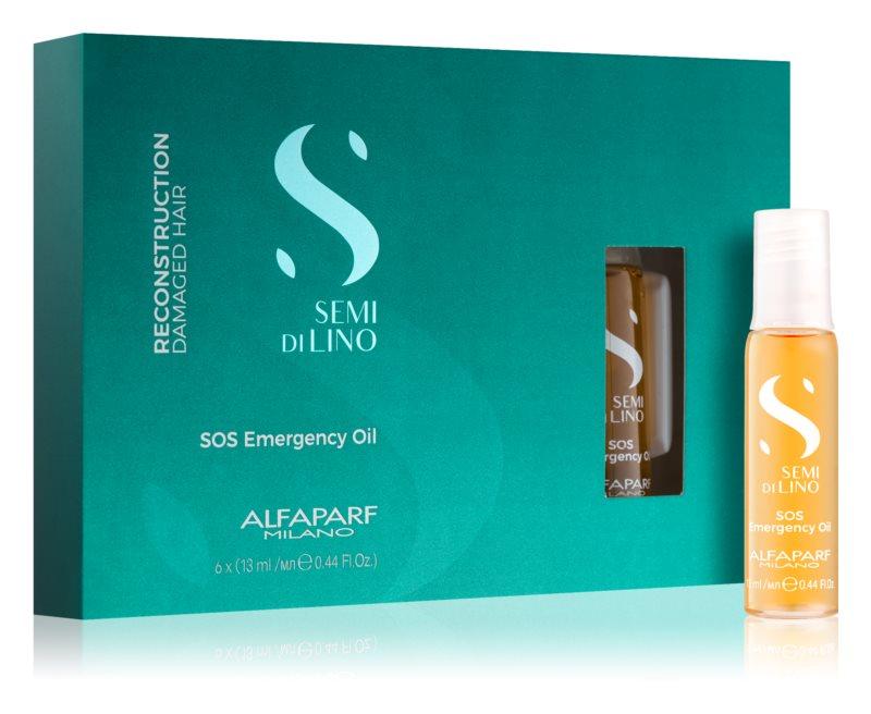 Alfaparf Milano Semi di Lino Reconstruction SOS Emergency Oil hajápoló a sérült haj megújítására  ampullákban