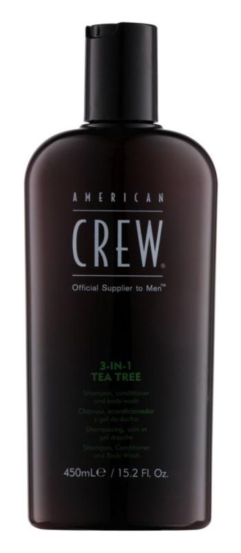 American Crew Tea Tree shampoing, après-shampoing et gel douche 3 en 1 pour homme