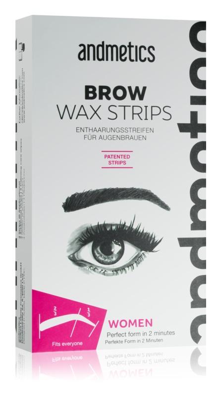 andmetics Wax Strips voskové depilačné pásiky na obočie