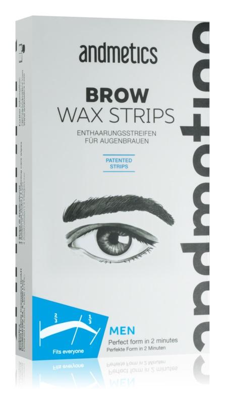 andmetics Wax Strips восъчни лепенки за депилация на вежди за мъже
