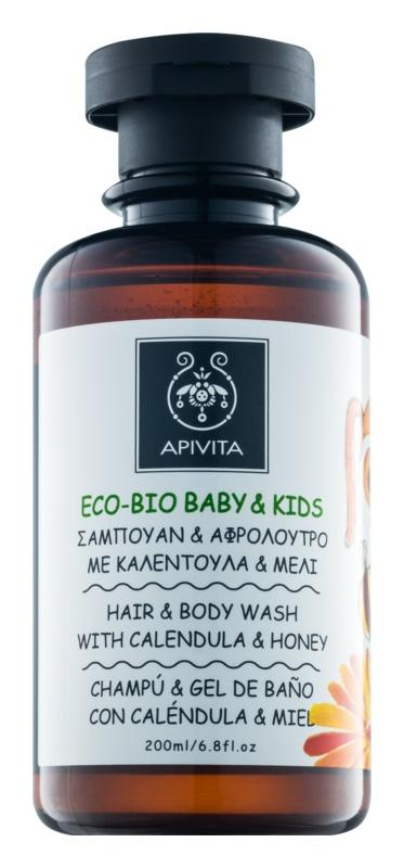 Apivita Eco-Bio Baby & Kids детски миещ гел и шампоан за ежедневна употреба