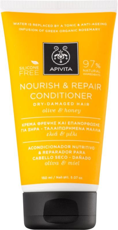 Apivita Holistic Hair Care Olive & Honey vyživujúci kondicionér pre suché a citlivé vlasy