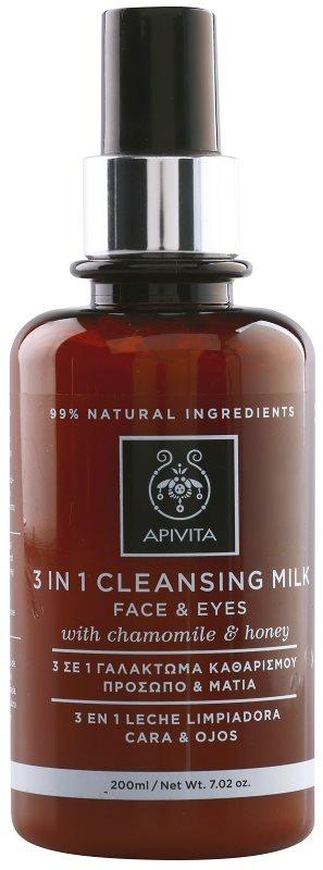 Apivita Cleansing Chamomile & Honey mlijeko za čišćenje 3 u 1 za lice i oči