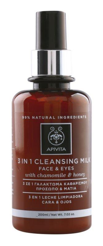 Apivita Cleansing Chamomile & Honey tisztító tej 3 in 1  az arcra és a szemekre