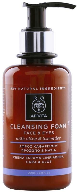Apivita Cleansing Olive & Lavender mousse detergente per viso e occhi