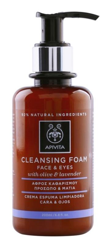 Apivita Cleansing Olive & Lavender spuma de curatat pe fata si ochi