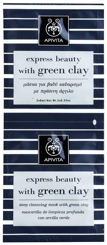 Apivita Express Beauty Green Clay mascarilla facial de limpieza profunda